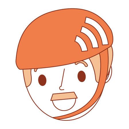 スポーツヘルメットベクトルイラストを着用した口ひげを持つ男