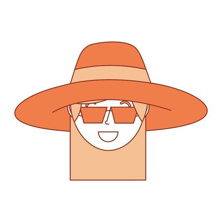 Happy face woman wearing hat and sunglasses vector illustration