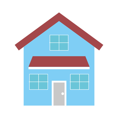 집 외관 전면보기 도어 및 windows 벡터 일러스트와 함께 현대적인 외관
