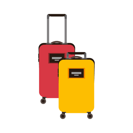 Two suitcases luggage travel with handle and wheels vector illustration