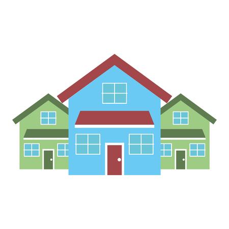 Drei moderne Häuser wohnen zweistöckige Nachbarschaftsvektorillustration Standard-Bild - 91394086