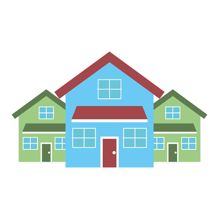 Drie moderne huizen woonplaats twee verdiepingen buurt vectorillustratie Stockfoto - 91394086