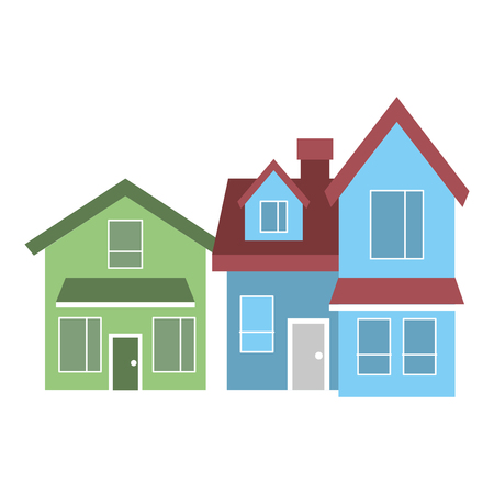 Two-storey houses with chimney, architecture residential, vector illustration Ilustrace