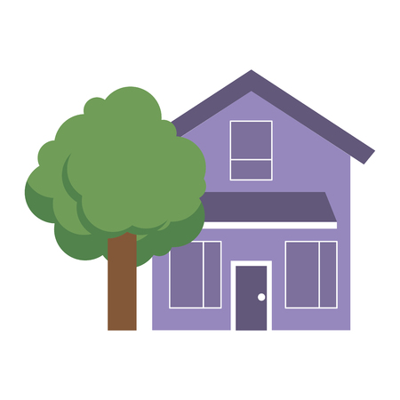 House home exterior with tree leafy natural vector illustration Illusztráció