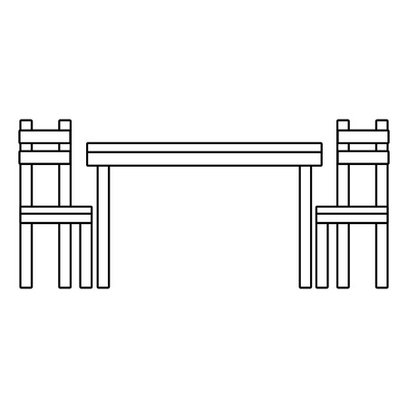 Wooden table chair dining furniture empty icon vector illustration outline design