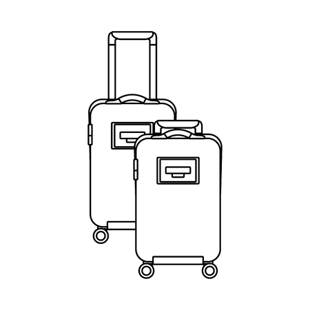 Two suitcases luggage travel with handle and wheels vector illustration outline design