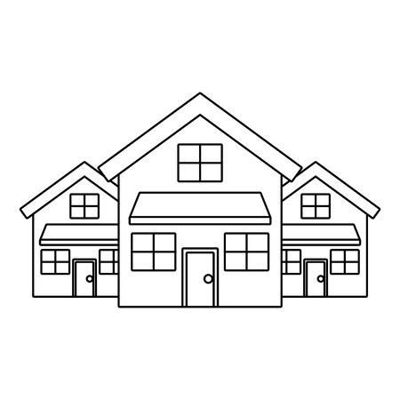 Drie moderne huizen woonplaats ontwerp met twee verdiepingen buurt vectorillustratie overzichtsontwerp