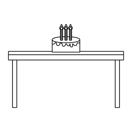 Birthday cake with candles on wooden table vector illustration outline design