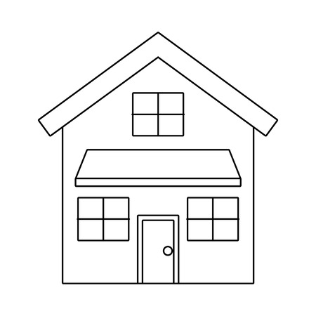 ドアと窓ベクトルイラストアウトラインデザインを備えたハウスエクステリアフロントビューモダンなファサード