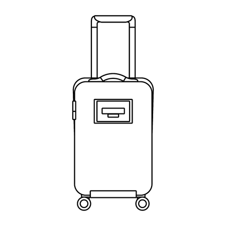 travel suitcase with retractable handle and wheels luggage vector illustration outline design