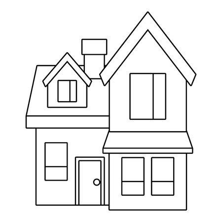 house big attic floor and chimney roof windows door urban vector illustration outline design Ilustracja