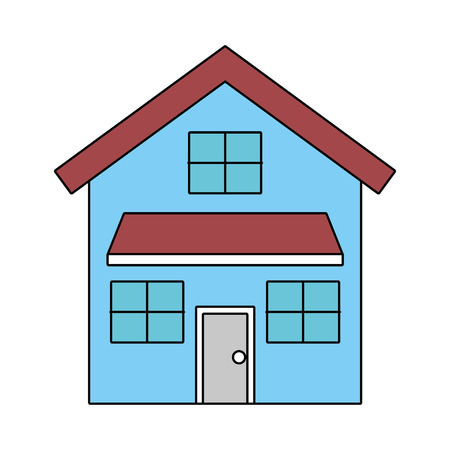 house exterior front view modern facade with doors and windows vector illustration Ilustracja