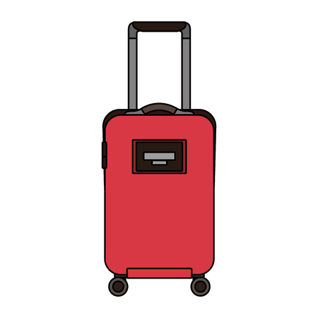 travel suitcase with retractable handle and wheels luggage vector illustration