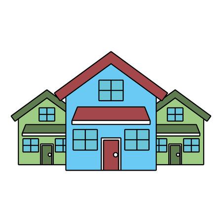 3 개의 현대 주택 거주 2 층 이웃 벡터 일러스트 레이션
