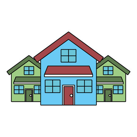 three modern houses residence two storey neighborhood vector illustration 向量圖像