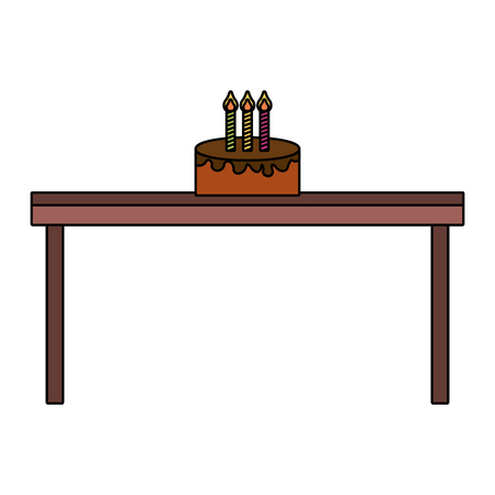 birthday cake with candles on wooden table vector illustration