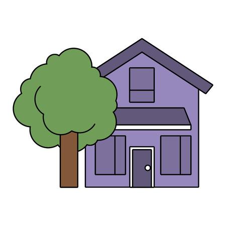 huis huis buitenkant met boom lommerrijke natuurlijke vector illustratie Stock Illustratie