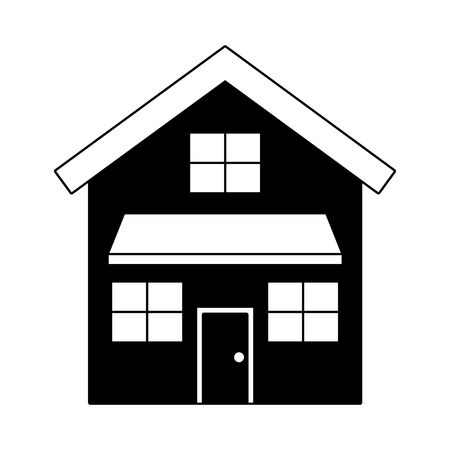 house exterior front view modern facade with doors and windows vector illustration black imagen