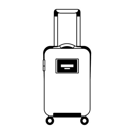 travel suitcase with retractable handle and wheels luggage vector illustration black imagen