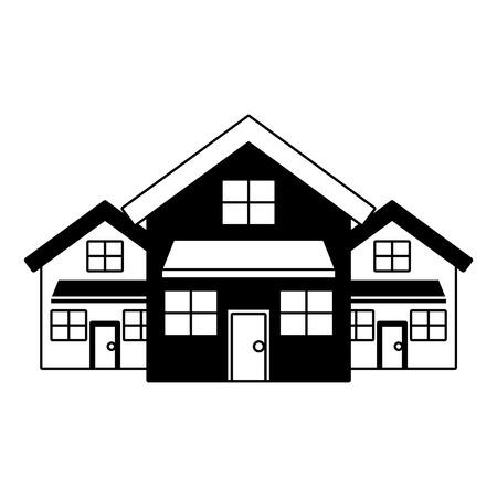 3つの近代的な家の住居2階建ての近所ベクトルイラスト黒いイメージ  イラスト・ベクター素材