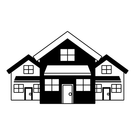 three modern houses residence two storey neighborhood vector illustration black imagen