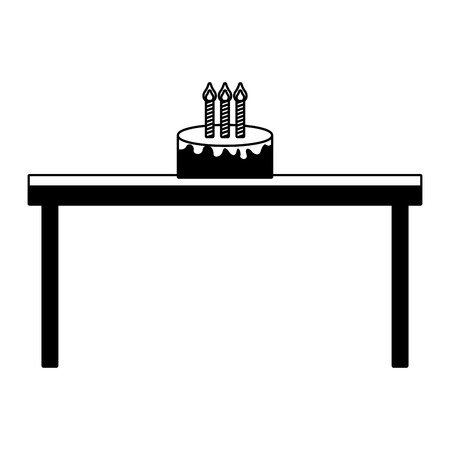 birthday cake with candles on wooden table vector illustration black imagen