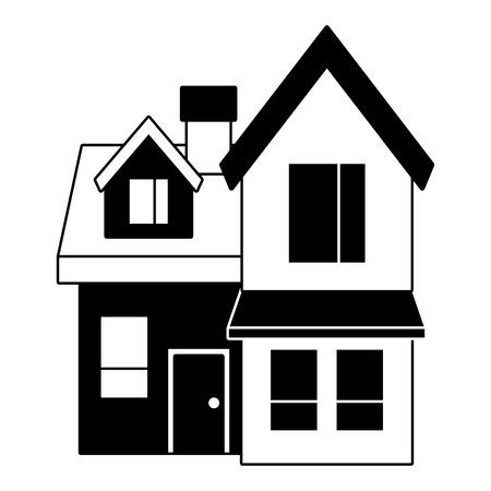 house big attic floor and chimney roof windows door urban vector illustration black imagen Illustration