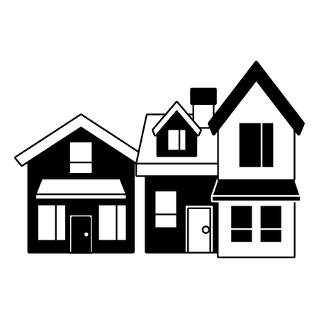 two storey houses with chimney architecture residential vector illustration black imagen