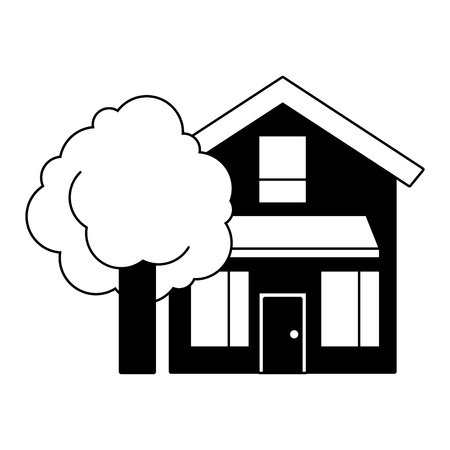 house home exterior with tree leafy natural vector illustration black imagen