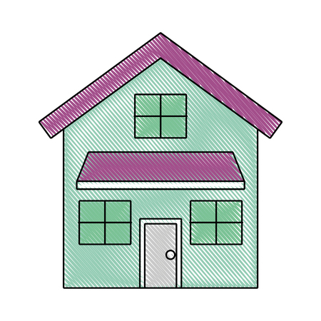 house exterior front view modern facade with doors and windows vector illustration drawn imagen Ilustracja