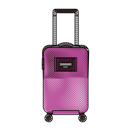 travel suitcase with retractable handle and wheels luggage vector illustration drawn imagen