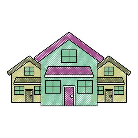 three modern houses residence two storey neighborhood vector illustration drawn imagen Stock Vector - 91395478