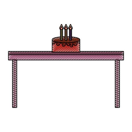 birthday cake with candles on wooden table vector illustration drawn imagen Illusztráció