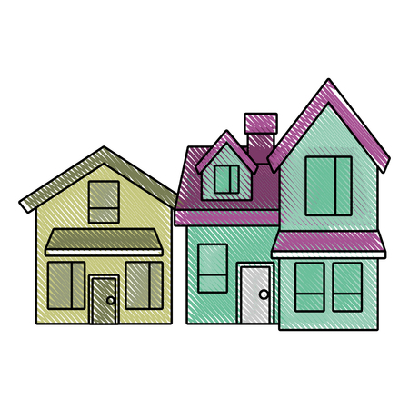 two storey houses with chimney architecture residential vector illustration drawn imagen