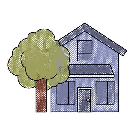 木の葉っぱの自然ベクトルイラスト描かれたイメージを持つ家の家の外観