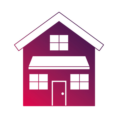 ドアと窓ベクトルイラスト付きハウスエクステリアフロントビューモダンなファサード  イラスト・ベクター素材