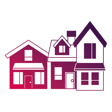 Two storey houses with chimney architecture residential vector illustration