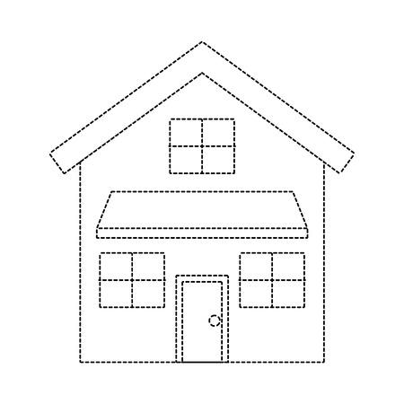 ドアと窓ベクトルイラスト点線画像を持つ家の外観フロントビューモダンなファサード  イラスト・ベクター素材