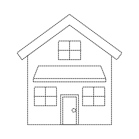 house exterior front view modern facade with doors and windows vector illustration dotted line imagen
