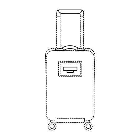 リトラクタブルハンドルとホイール付き旅行スーツケース ベクトル イラスト点線画像  イラスト・ベクター素材