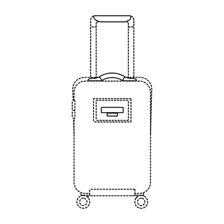 travel suitcase with retractable handle and wheels luggage vector illustration dotted line imagen