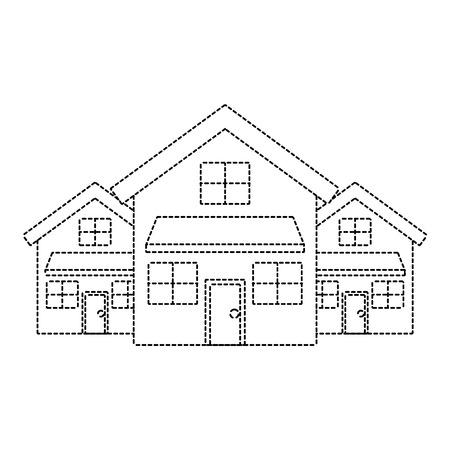 Nachbarschaftsvektorillustration des Wohnsitzes mit drei modernen Häusern mit zwei Geschossen punktierte Linie Bild Standard-Bild - 91395254