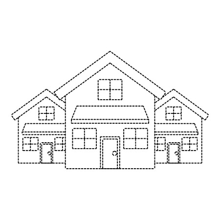 Three modern houses residence two storey neighborhood vector illustration dotted line image