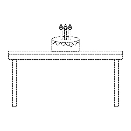 birthday cake with candles on wooden table vector illustration dotted line imagen
