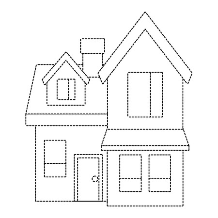 house big attic floor and chimney roof windows door urban vector illustration dotted line imagen