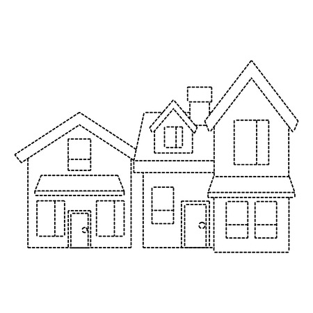 two storey houses with chimney architecture residential vector illustration dotted line imagen