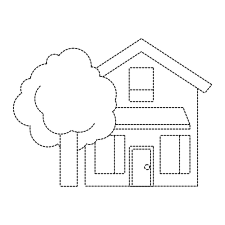 나무 잎이 많은 자연 벡터 일러스트와 함께 집 집 외관 점선 imagen