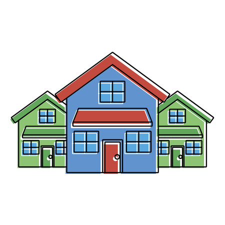 Drie moderne huizen wonen twee verdiepingen wijk vectorillustratie Stockfoto - 91395919