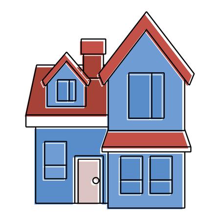 house big attic floor and chimney roof windows door urban vector illustration Illustration