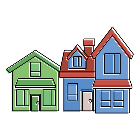 two storey houses with chimney architecture residential vector illustration Illustration